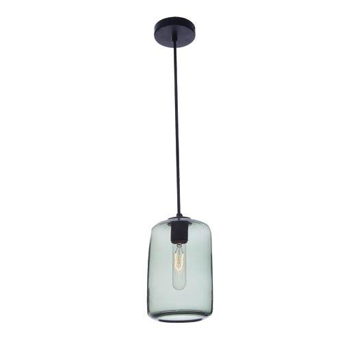 Viz Art Glass Vintage Pearl Black Grey Cylinder Glass Pendant