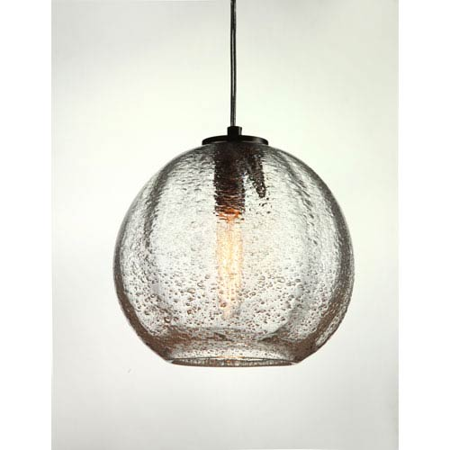 Vintage Satin Nickel Round Ribbed Clear Bubble Glass Pendant