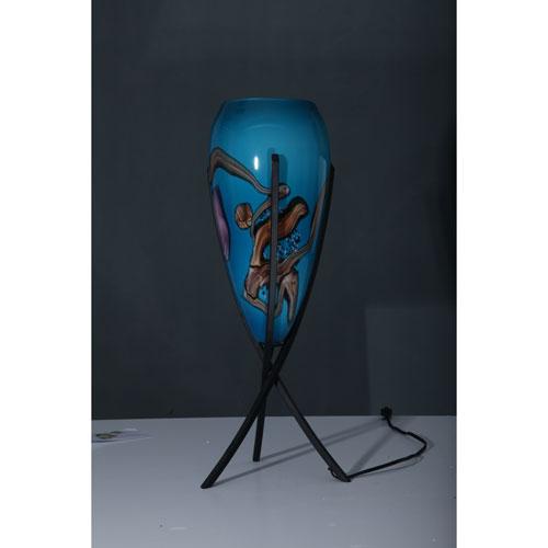 Triumph Matte Black Teal Glass Table Lamp