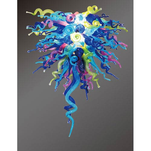 Viz Art Glass Colorful Classic Wonders of the Sea Large Chandelier