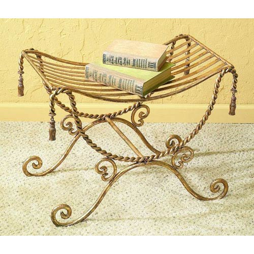 Antique Gold Iron Bench with Swag and Tassel Accents