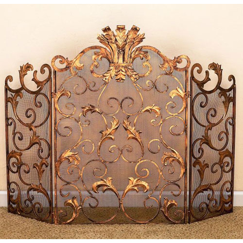 Antique Gold Acanthus Leaf Accent Fireplace Screen