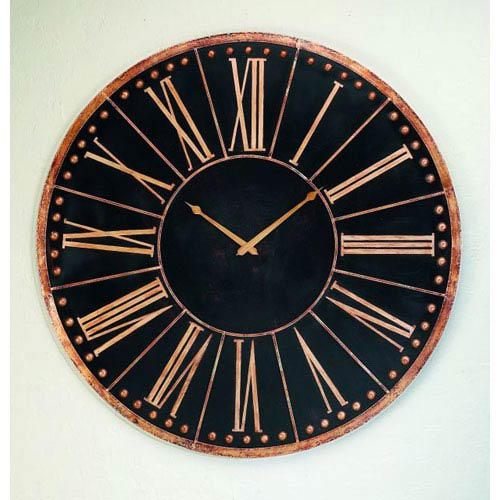 Antique Black Oversized Iron Accent Wall Clock