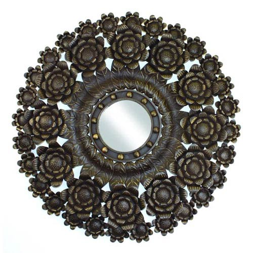 Faux Brown Gold Tole Floral Wall Accent with 8-Inch Distressed Mirror