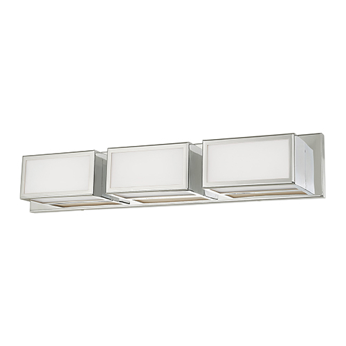 Livex Lighting Sutter Polished Chrome 24-Inch ADA Bath Vanity with Hand Blown Satin Opal White Glass