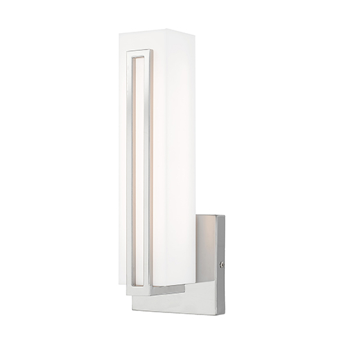 Livex Lighting Fulton Polished Chrome 4-Inch ADA Wall Sconce with Satin White Acrylic Shade