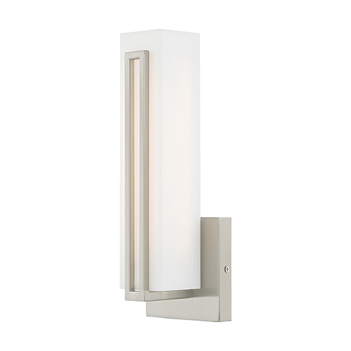 Livex Lighting Fulton Brushed Nickel 4-Inch ADA Wall Sconce with Satin White Acrylic Shade