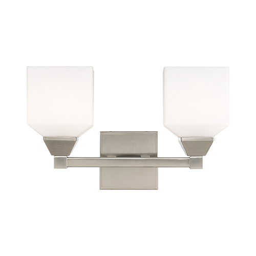 Livex Lighting Aragon Brushed Nickel 15-Inch Two-Light Bath Vanity with Hand Blown Satin Opal White Glass
