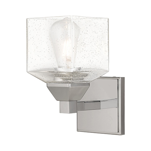 Aragon Polished Chrome 5-Inch One-Light Wall Sconce with Hand Blown Clear Seeded Glass