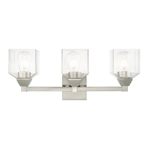 Aragon Brushed Nickel 23-Inch Three-Light Bath Vanity with Hand Blown Clear Seeded Glass