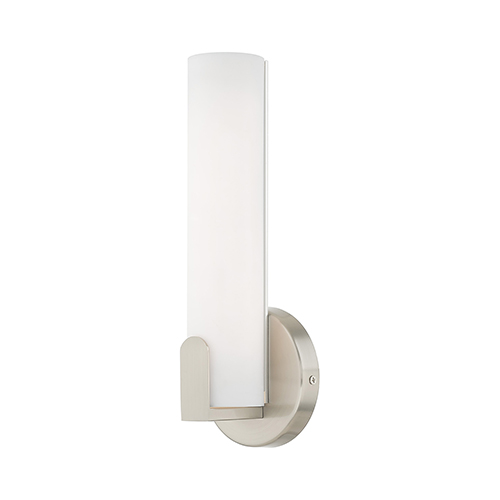 Lund Brushed Nickel 4-Inch ADA Wall Sconce with Satin White Acrylic Shade