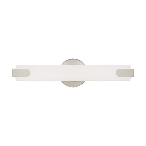 Livex Lighting Lund Brushed Nickel 4-Inch ADA Bath Vanity with Satin White Acrylic Shade