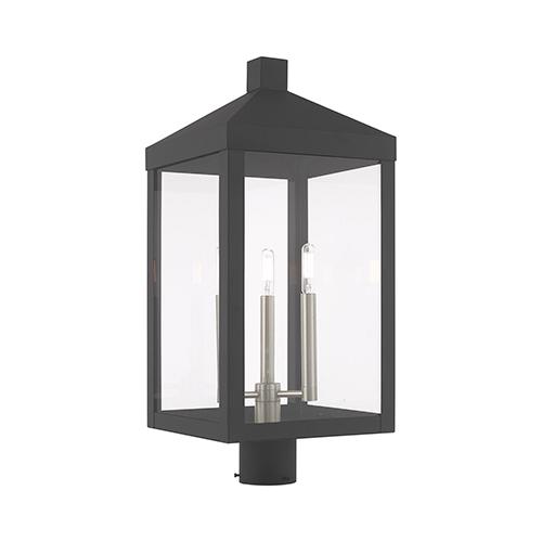 Nyack Scandinavian Gray 11-Inch Three-Light Post Top Lantern