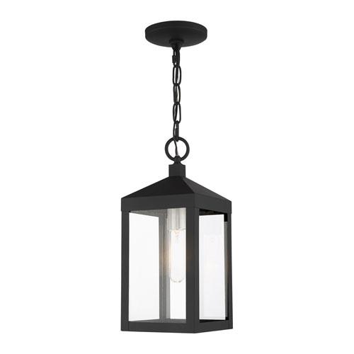 Nyack Black and Brushed Nickel Cluster One-Light Outdoor Pendant Lantern