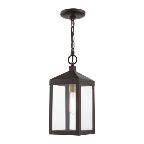 Nyack Bronze and Antique Brass Cluster One-Light Outdoor Pendant Lantern