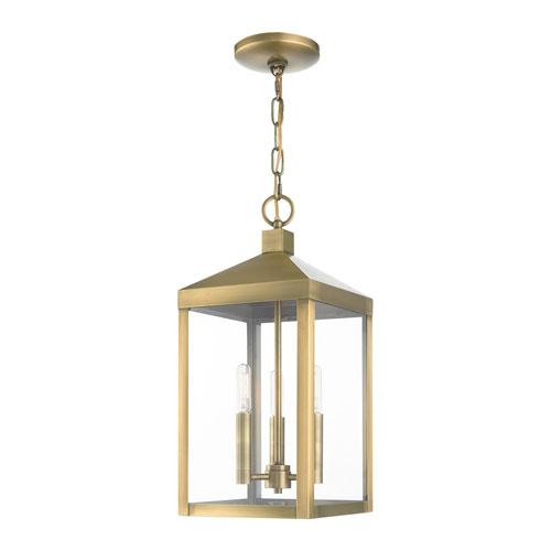 Nyack Antique Brass Three-Light Outdoor Pendant Lantern