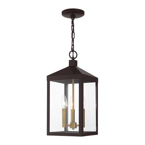 Nyack Bronze and Antique Brass Cluster Three-Light Outdoor Pendant Lantern