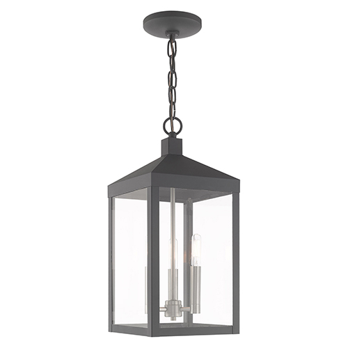 Nyack Scandinavian Gray Eight-Inch Three-Light Pendant Lantern