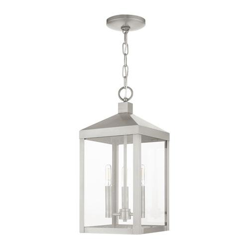 Nyack Brushed Nickel Three-Light Outdoor Pendant Lantern