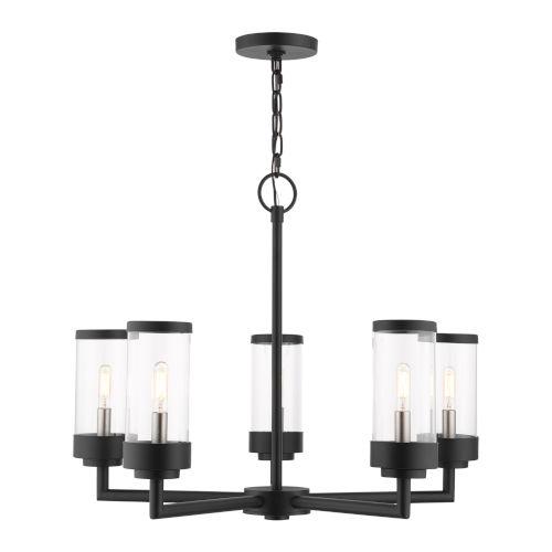 Hillcrest Textured Black Five-Light Outdoor Chandelier