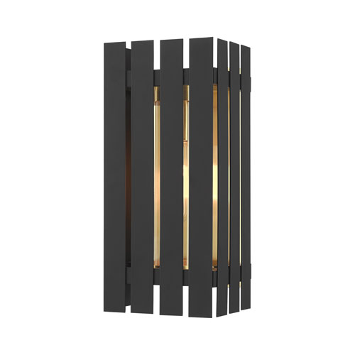 Greenwich Black and Satin Brass 13-Inch One-Light Outdoor Wall Lantern