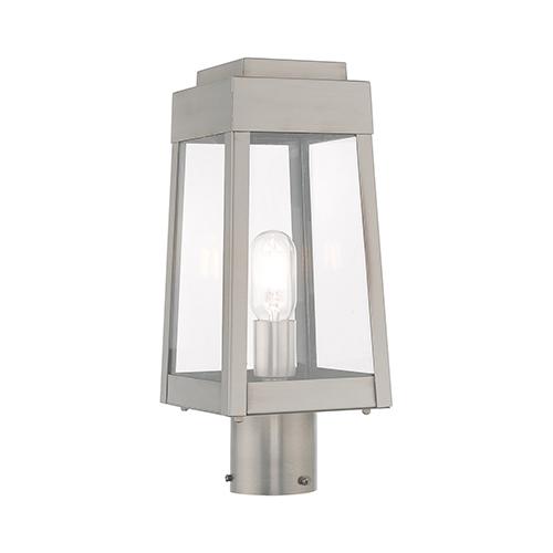 Livex Lighting Oslo Brushed Nickel 6-Inch One-Light Post Top Lantern