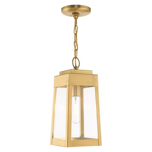 Oslo Satin Brass 6-Inch One-Light Pendant Lantern