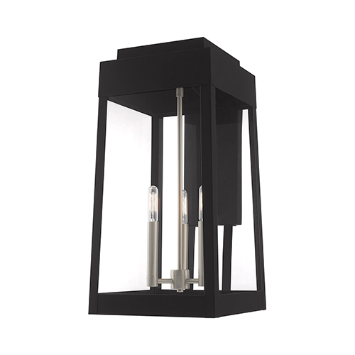 Oslo Black 20-Inch Three-Light Outdoor Wall Lantern