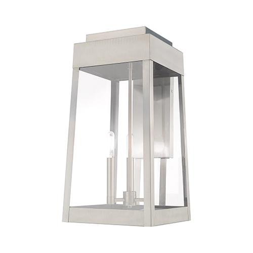 Oslo Brushed Nickel 20-Inch Three-Light Outdoor Wall Lantern