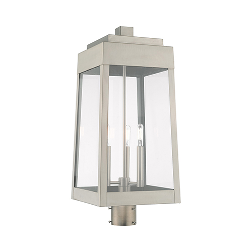 Oslo Brushed Nickel Three-Light Post Top Lantern