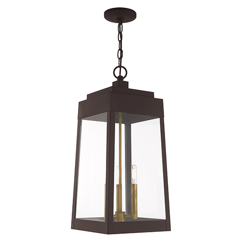 Oslo Bronze Three-Light Pendant Lantern