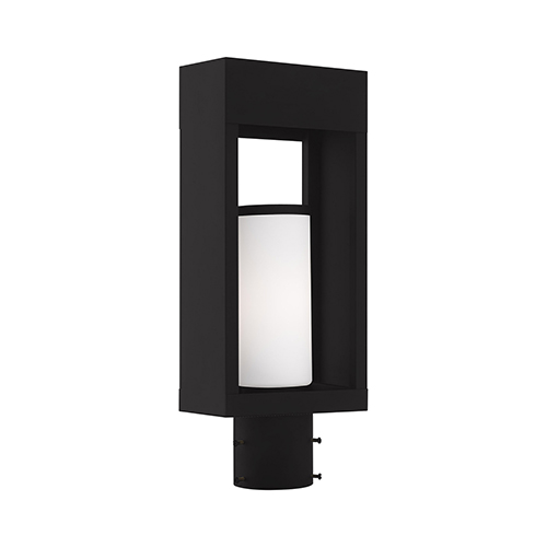 Bleecker Black Post Top Lantern Opal White Cylinder Glass