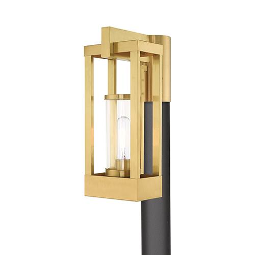 Delancey Satin Brass Post Top Lantern Transparent Glass