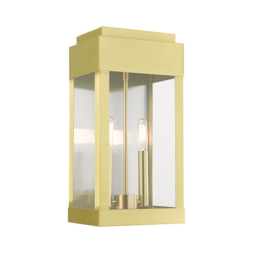 York Satin Brass Eight-Inch Two-Light Outdoor Wall Lantern