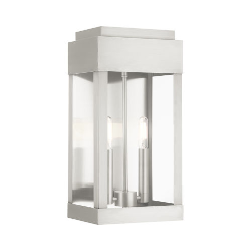 York Brushed Nickel Eight-Inch Two-Light Outdoor Wall Lantern