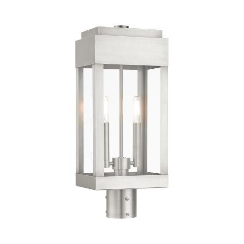 York Brushed Nickel Two-Light Outdoor Post Lantern