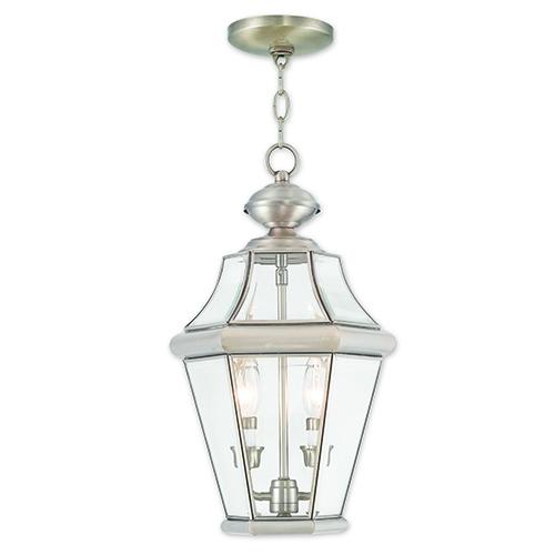 Georgetown Brushed Nickel Two-Light Outdoor Lantern Pendant
