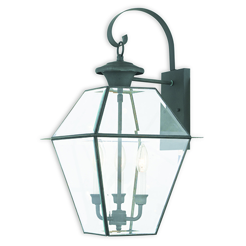 Livex Lighting Westover Charcoal Three-Light Outdoor Wall Sconce