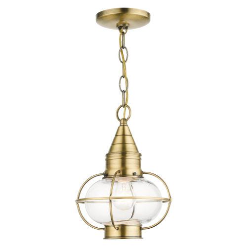 Newburyport Antique Brass Nine-Inch One-Light Outdoor Pendant