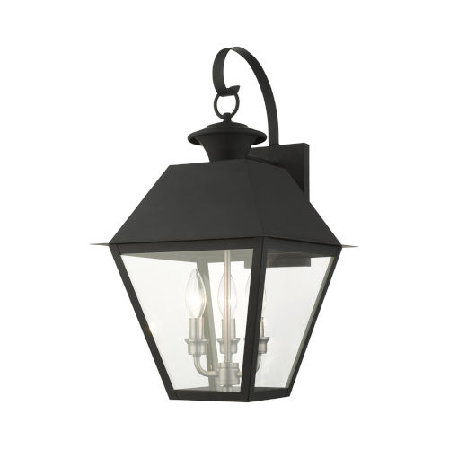 Mansfield Black Three-Light Outdoor Wall Lantern