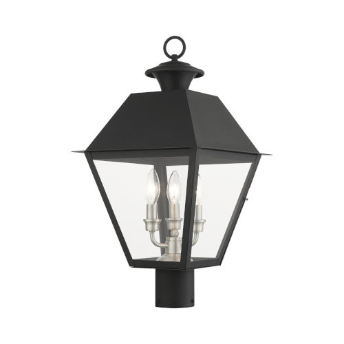 Mansfield Black Three-Light Outdoor Post Lantern