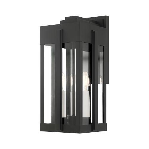 Lexington Black Eight-Inch Three-Light Outdoor Wall Lantern