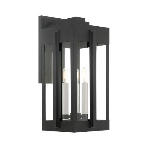 Lexington Black 10-Inch Three-Light Outdoor Wall Lantern