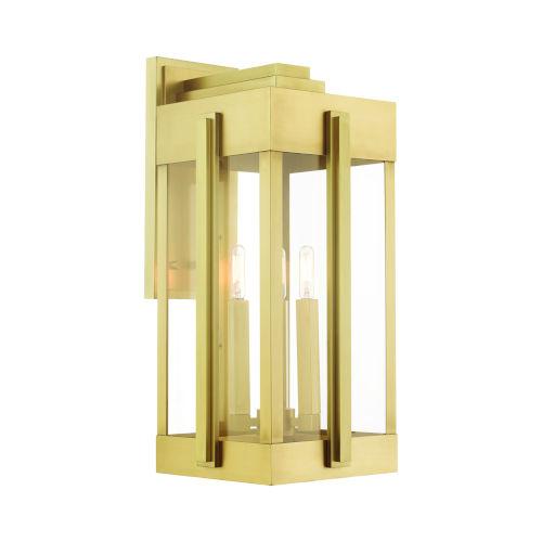 Lexington Natural Brass 10-Inch Three-Light Outdoor Wall Lantern
