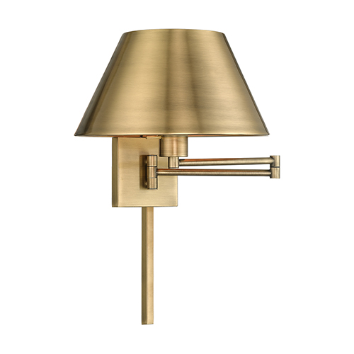 Swing Arm Wall Lamps Antique Brass 13-Inch One-Light Swing Arm Wall Lamp with Hand Crafted Satin Brass Metal Shade