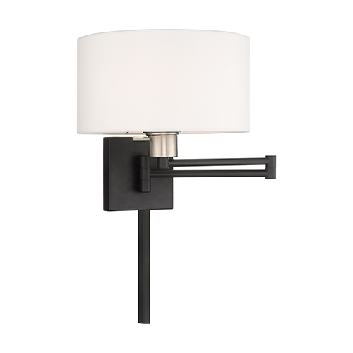 Livex Lighting Swing Arm Wall Lamps Black 11-Inch One-Light Swing Arm Wall Lamp with Hand Crafted Off-White Hardback Shade