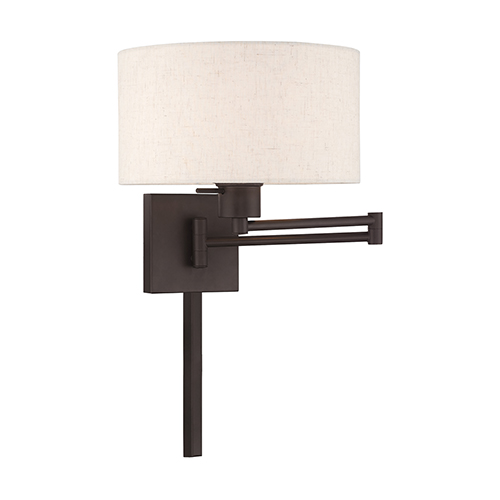 Swing Arm Wall Lamps Bronze 11-Inch One-Light Swing Arm Wall Lamp with Hand Crafted Oatmeal Hardback Shade