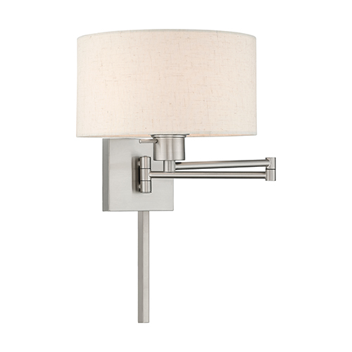 Swing Arm Wall Lamps Brushed Nickel 11-Inch One-Light Swing Arm Wall Lamp with Hand Crafted Oatmeal Hardback Shade