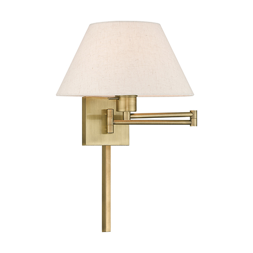 Livex Lighting Swing Arm Wall Lamps Antique Brass 13-Inch One-Light Swing Arm Wall Lamp with Hand Crafted Oatmeal Hardback