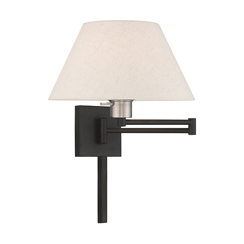 Livex Lighting Swing Arm Wall Lamps Black 13-Inch One-Light Swing Arm Wall Lamp with Hand Crafted Oatmeal Hardback Shade